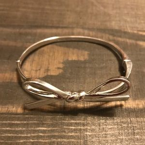 Kate Spade Silver Skinny Bow Bangle Bracelet